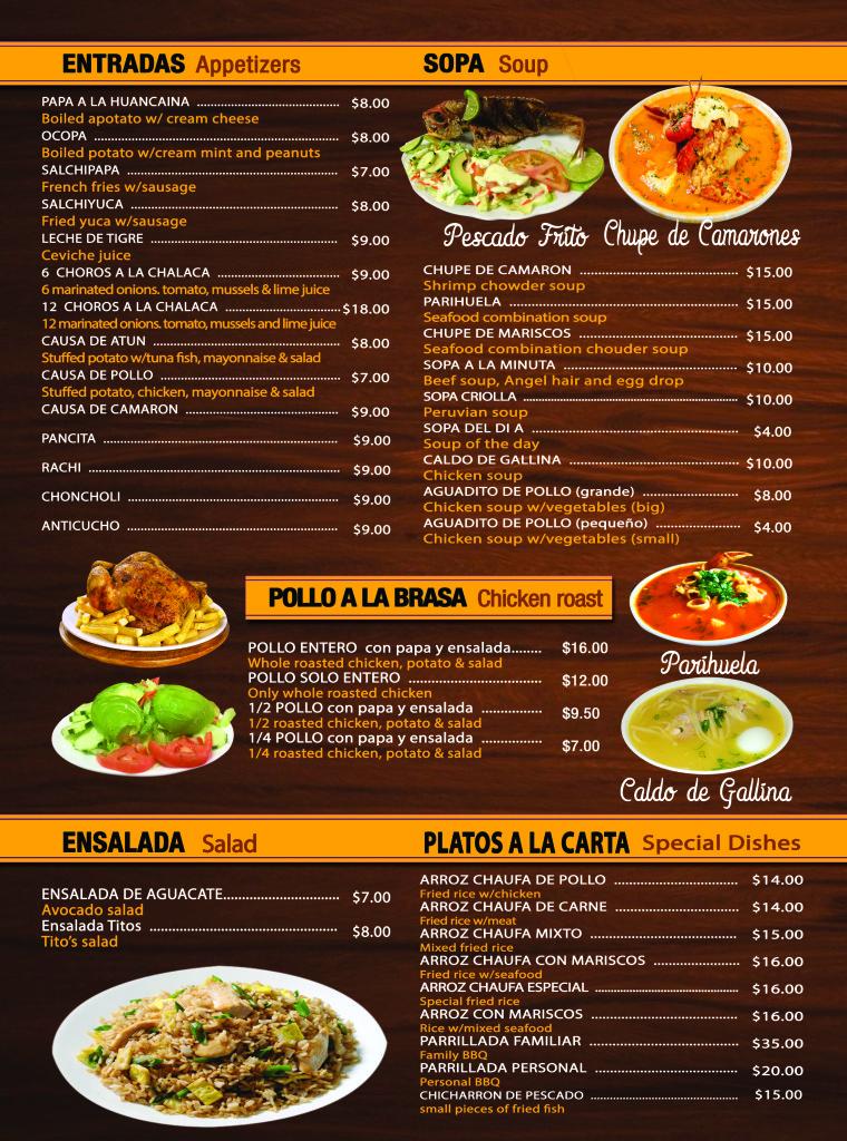 Menu tito 39 s peruvian restaurant elizabeth nj for X cuisine miri menu